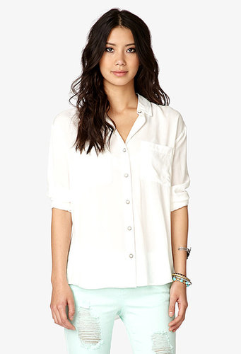 FOREVER 21 Lace-Up Peek-A-Boo Panel Shirt