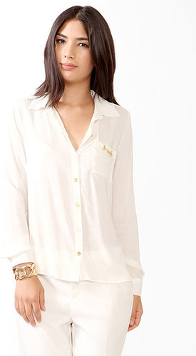 FOREVER 21 Chain Pocket Button Up