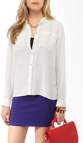 FOREVER 21 Semi-Sheer Utility Shirt