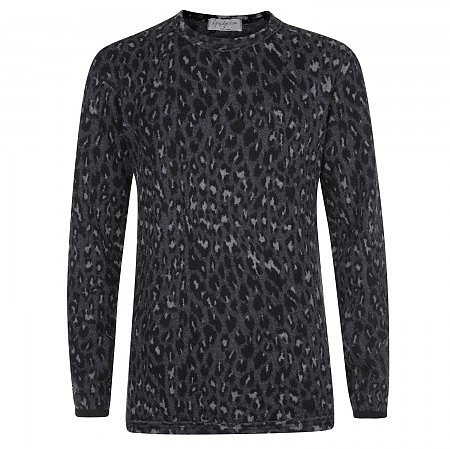 Yohji Yamamoto Leopard print wool and cotton blend jumper - Grey