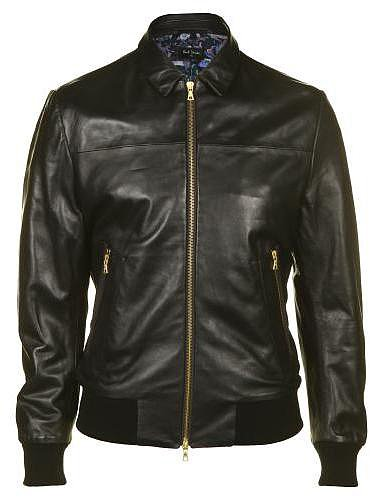 Paul Smith PS Men's Black Leather Bomber Jacket