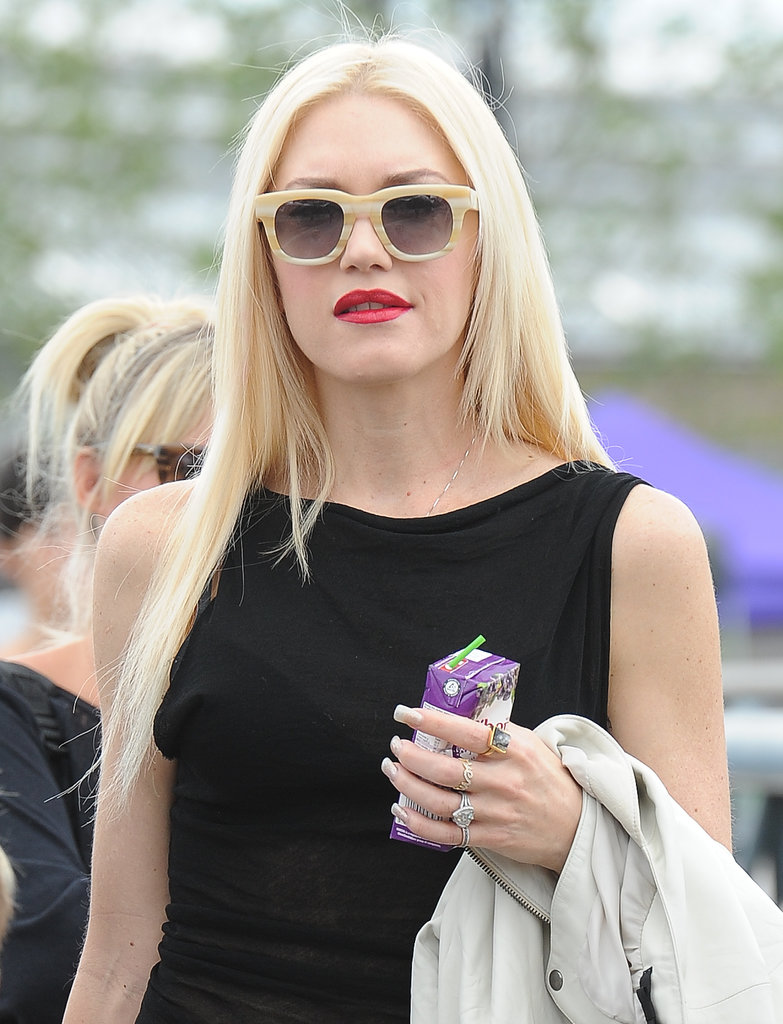 The queen of platinum-blond hair is Gwen Stefani, who has been rocking this hue for years. She was spotted out earlier this month donning a sleek style, a look she paired with fun shades and her signature red lipstick.