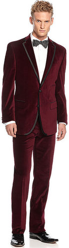 Tallia Suit, Maroon Velvet with Black Piping
