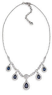 Carolee® Simply Blue & Silvertone Crystal Teardrop Necklace