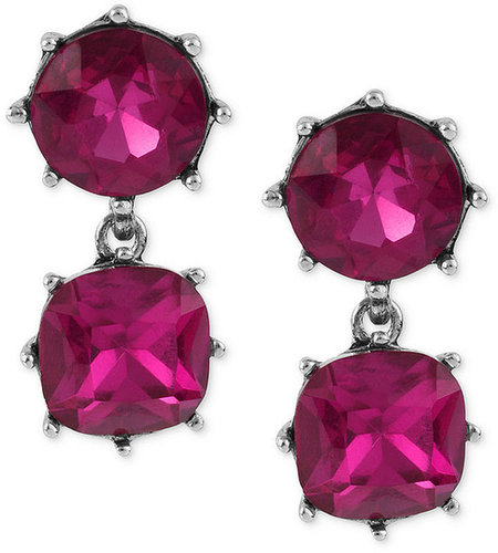 Betsey Johnson Earrings, Antique Silver-Tone Fuchsia Crystal Double Drop Earrings