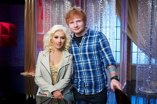 The Voice Christina Aguilera and Ed Sheeran on The Voice's season premiere, airing Sept. 23 on NBC.