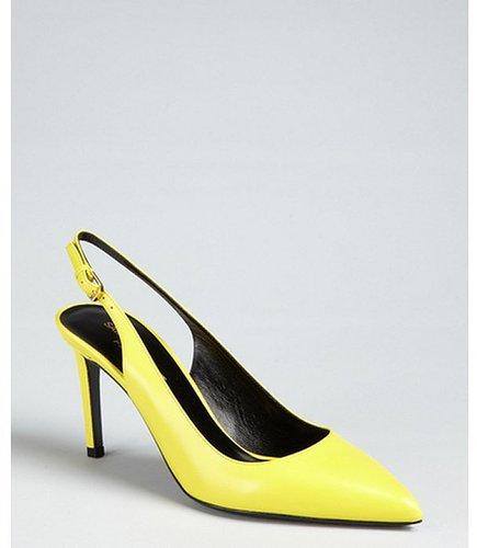 Yves Saint Laurent lemon leather point toe slingback pumps