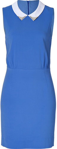 Sandro Rodeo Studded Collar Dress in Indigo Blue