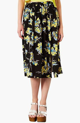Topshop Dark Floral Midi Skirt Black 4