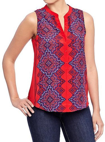Women's Scarf Print Sleeveless Blouses