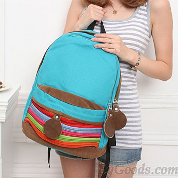 Unique Rainbow Stripe Canvas Backpack