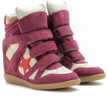 ISABEL MARANT RED BAYLEY SUEDE WEDGE SNEAKERS