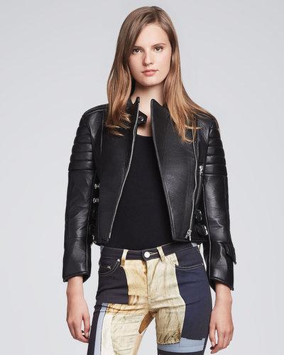 Acne Asymmetric-Zip Leather Moto Jacket, Black