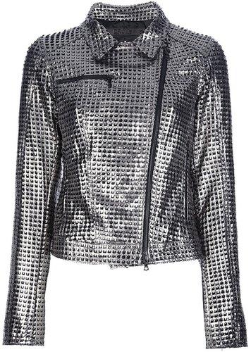 Drome metallic perforated biker jacket