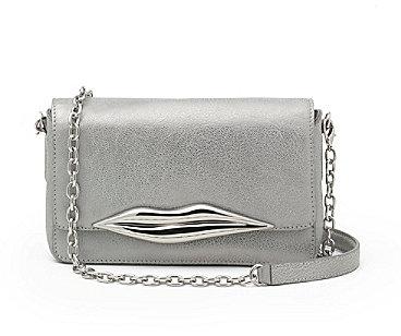 Flirty Mini Crossbody Metallic Bag In Pewter