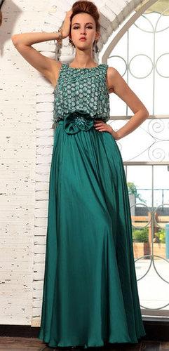 Long Green Satin Dress