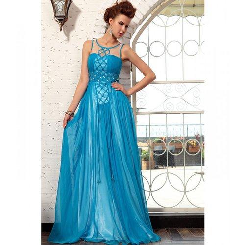 Long chiffon satin dress