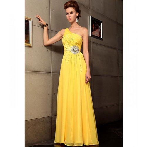Yellow satin Dress, long