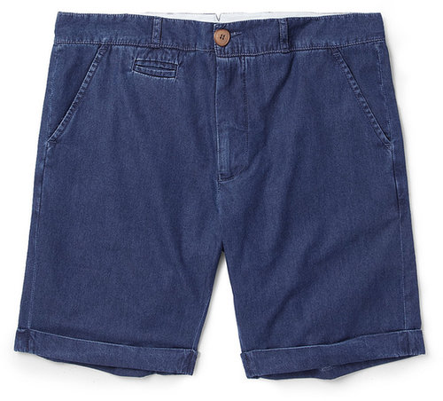 Oliver Spencer Washed-Denim Chambray Shorts