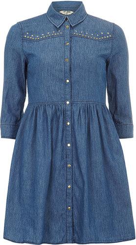 Denim-Hemdkleid mit Mittlerer Waschung