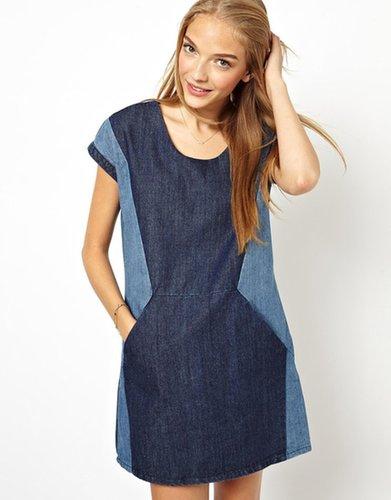 ASOS – Denim-Kleid mit Farbblock