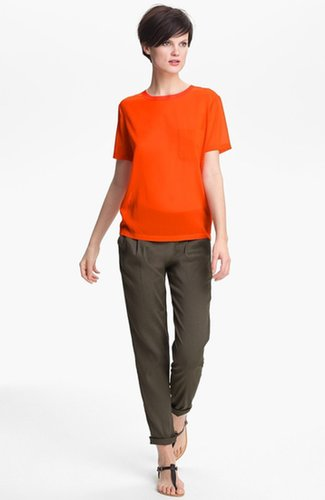 Vince Silk Pocket Tee Persimmon Small