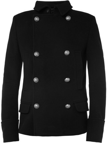 Balmain Slim-Cut Wool Peacoat