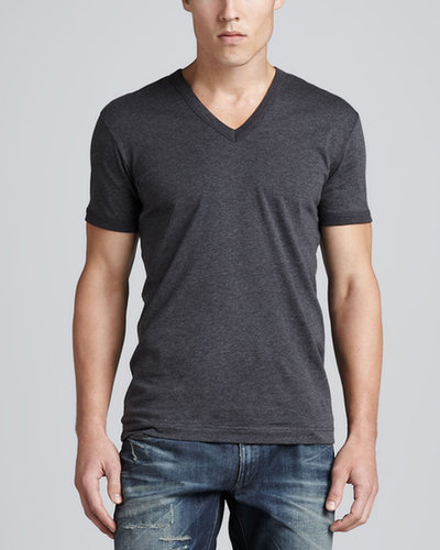Dolce & Gabbana Heather Jersey V-Neck Tee, Gray
