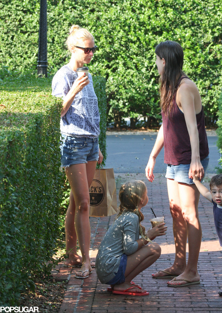 Gwyneth Paltrow and her daughter, Apple, rode their red Vespa to Jacks Coffee in Amagansett during their family vacation to the Hamptons in August.