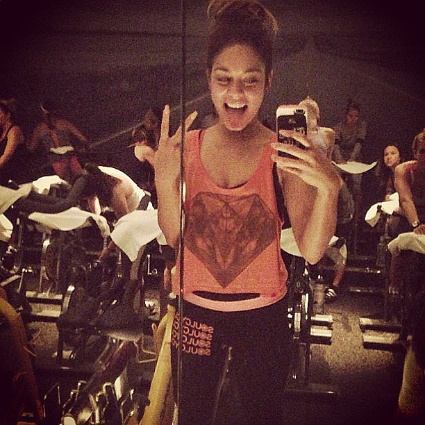 Vanessa Hudgens was beyond happy to be riding front and center at a recent SoulCycle class in West Hollywood.