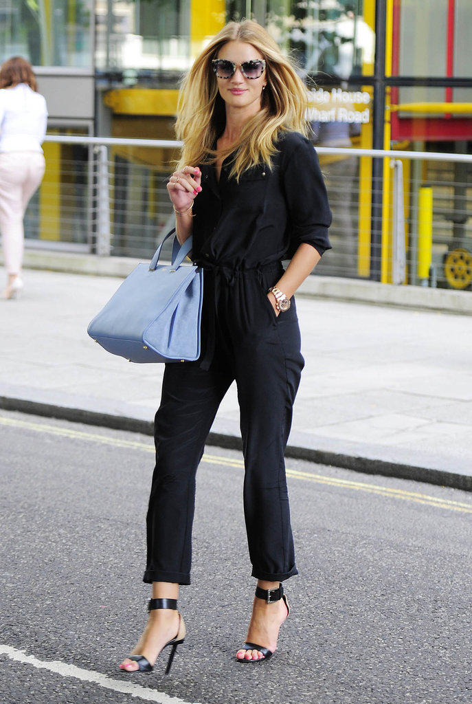 Do you shop this chic? Rosie Huntington-Whiteley used a blue bag to lend a bit of color to an otherwise all-black ensemble.