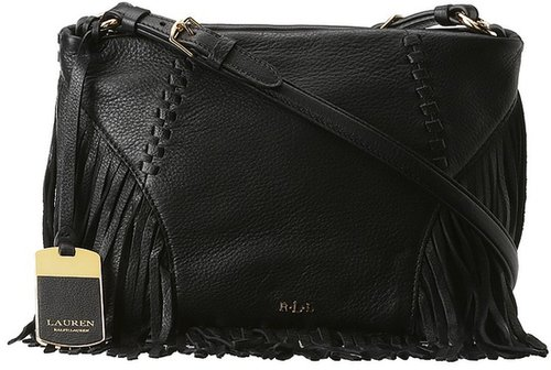 LAUREN Ralph Lauren - Faulk Leather Small Crossbody (Black) - Bags and Luggage
