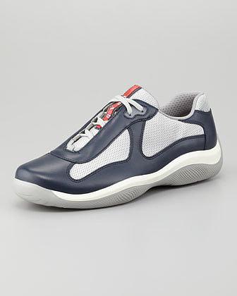 Prada America's Cup Sneaker, Navy/Silver