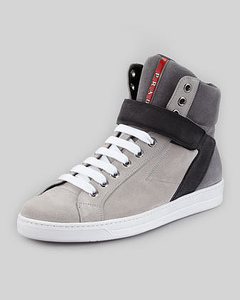 Prada Avenue Suede High-Top Sneaker, Gray Multi
