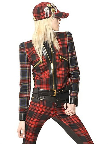 Wool Tartan & Nappa Leather Jacket