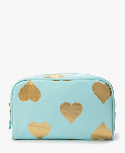 FOREVER 21 Metallic Heart Cosmetic Bag