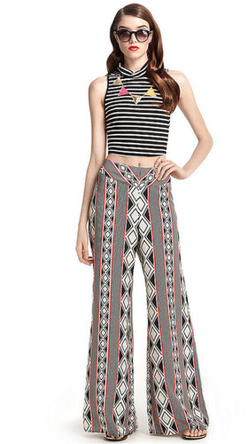 Bar III Pants, Wide-Leg Geometric-Print Palazzo