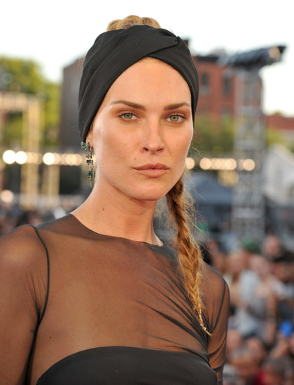 Erin-Wasson-pulled-her-hair-back-tousled-braid-which-she