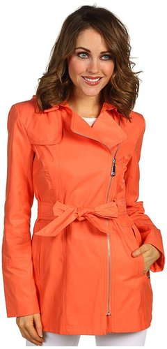 Vince Camuto - Hooded Asymmetrical Zip Trench (Papaya) - Apparel