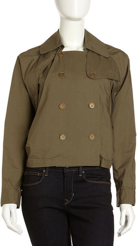 L.A.M.B. Cropped Trench Jacket, Khaki