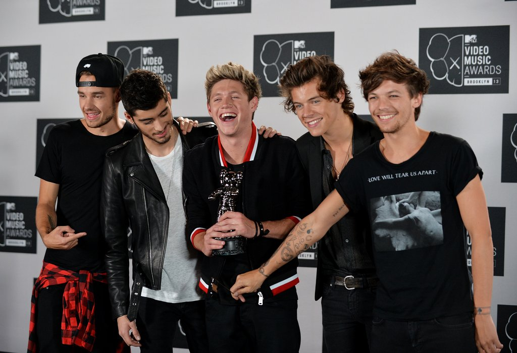 The guys of One Direction joked around in the press room.
