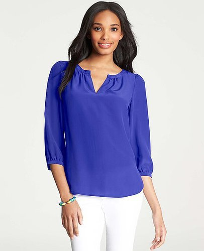 Split Neck Silk Blouse