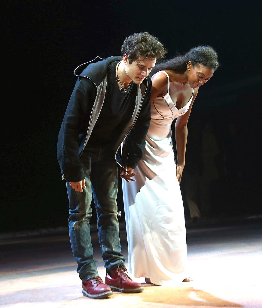 Orlando Bloom and his costar, Condola Rashad, took a bow after the opening night of Romeo and Juliet on Broadway.