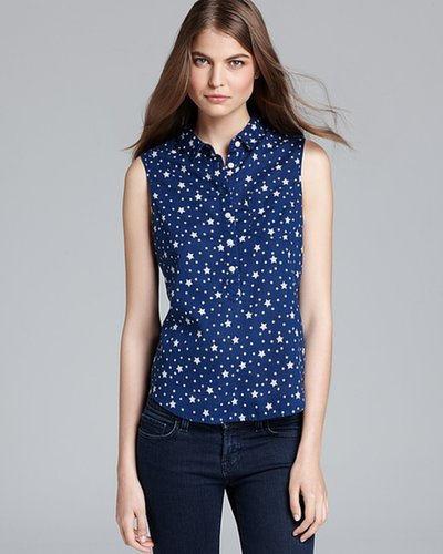 Aqua Top - High Low Star Print Popover