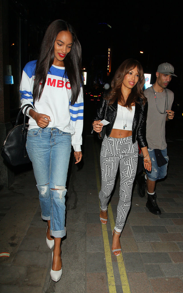 Jourdan Dunn's sporty take on denim just needed a pair of posh heels for a night out.