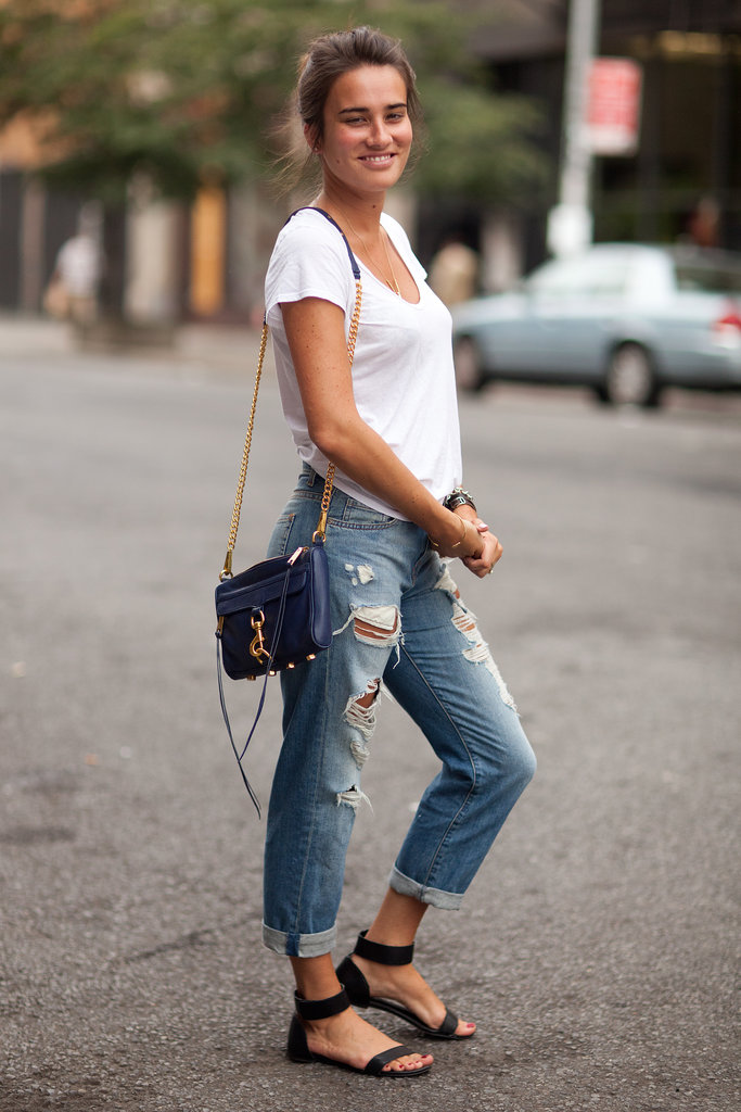 For those early Fall days, you don't need much but jeans, a white tee, and your favorite sandals to start the transition out of Summer. Source: Le 21ème | Adam Katz Sinding