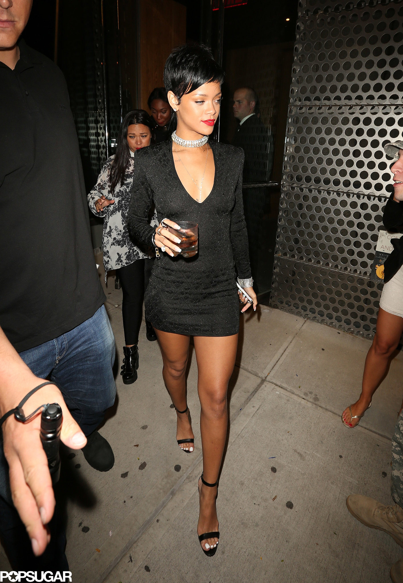 Rihanna Wore a Tight Black