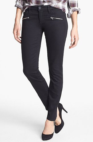 KUT from the Kloth Zipper Detail Skinny Jeans (Black) Womens Black Size 6 6