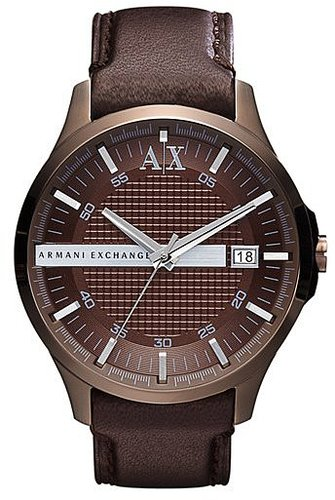 AX Armani Exchange Leather Strap Watch Brown