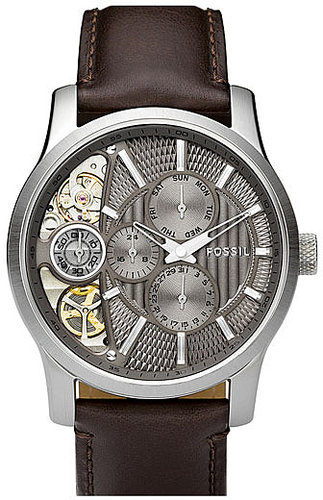 Fossil 'Twist' Leather Strap Watch Brown